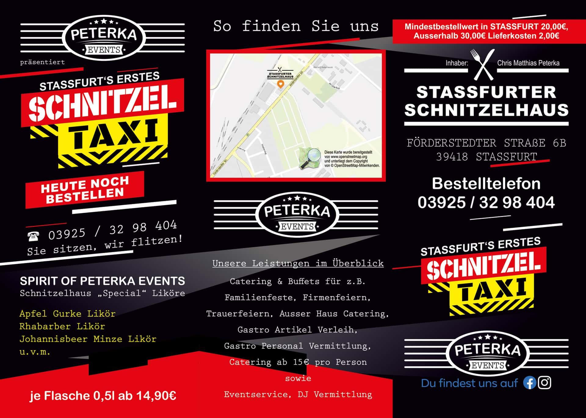 Faltblatt 6-Seiter Schnitzelhaus Stassfurt